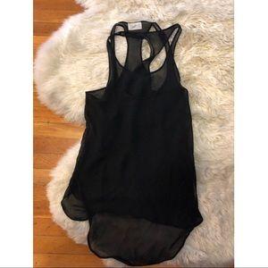 Zara Sheer 2 long Black tank tops M layers shirt